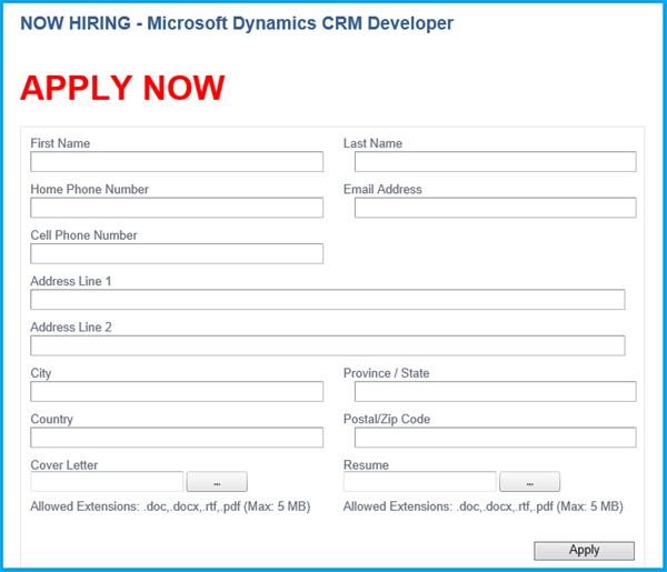 hiring application form