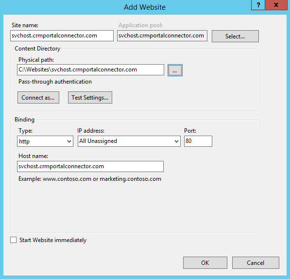 Website Config Dialog
