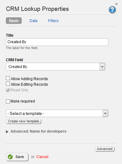 CRM Lookup Properties