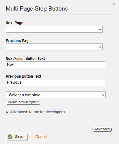 Multi-Page Step Buttons Properties
