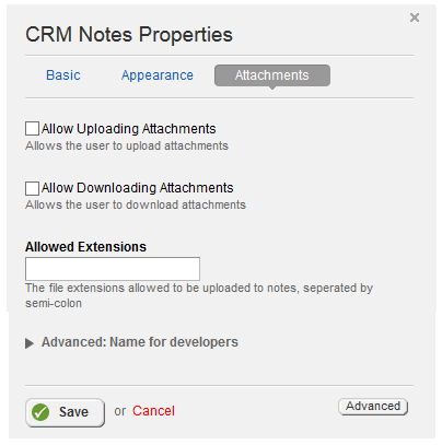 Notes Attachments Properties