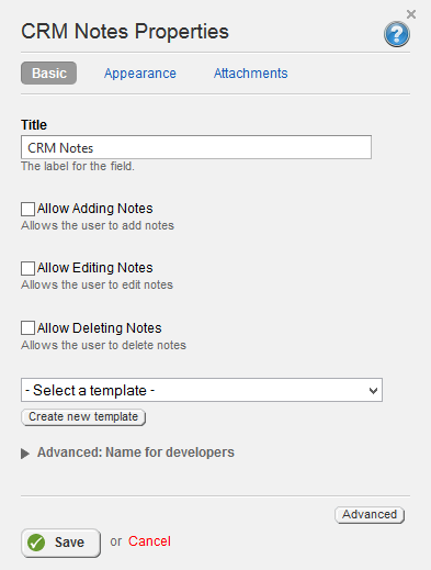 CRM Notes Properties 3.0