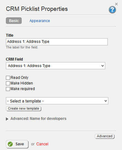 CRM Picklist Basic Properties 3.2