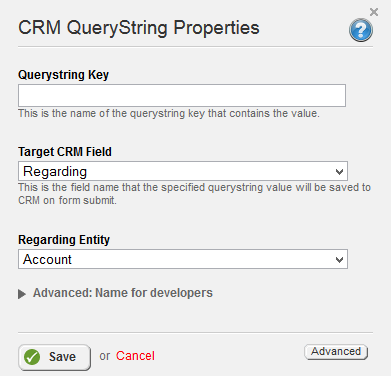 CRM Query String Regarding