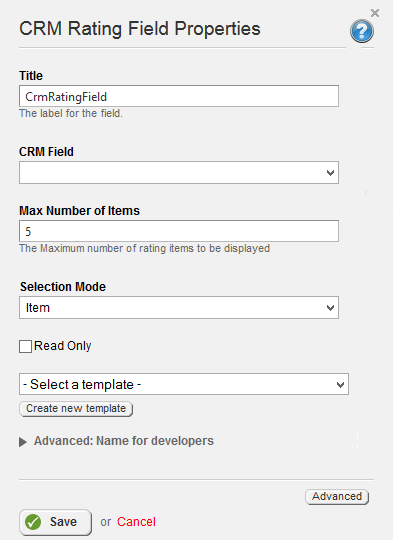 CRM Rating Field Properties