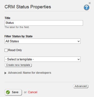 CRM Status Field Properties 3.0
