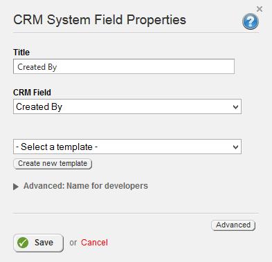 CRM System Field Properties
