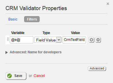 CRM Validator Filter Properties