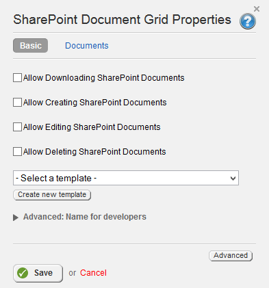 Sharepoint Document Grid Properties