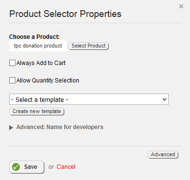 Product Selector Properties