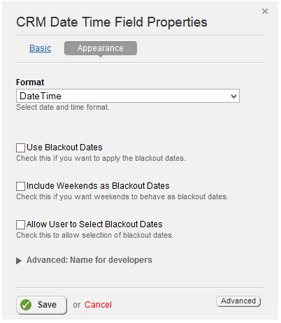 Date Time Appearance Tab