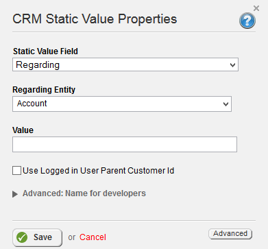 CRM Static Value Regarding
