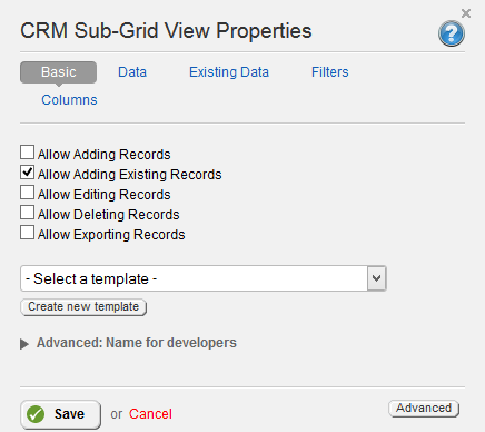 CRM Sub Grid Basic Properties