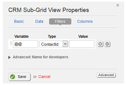 Sub Grid View Filters Properties
