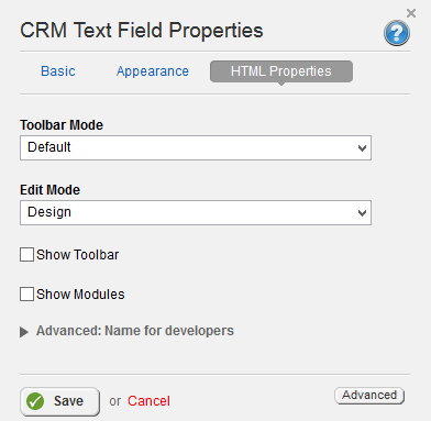CRM Text field HTML Properties