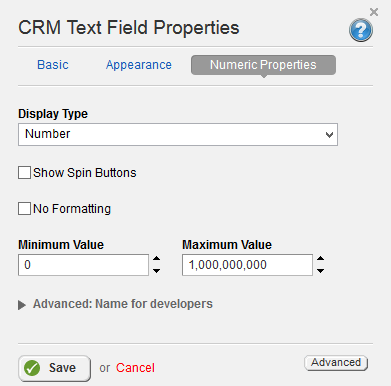 CRM Text Field Numeric Field Properties