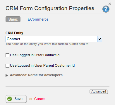 CRM Form Configuration Properties