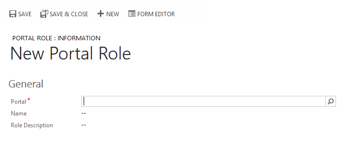 Portal Role Creation Page