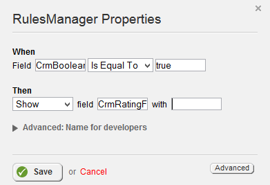Rules Manager Is Equal To and Show