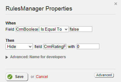 Rules Manager Is Equal To and Hide