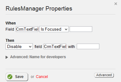 Rules Manager Is Focused and Disable
