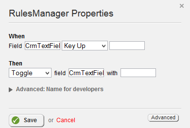 Rules Manager Key Up and Toggle