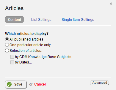 CRM Articles Content Settings