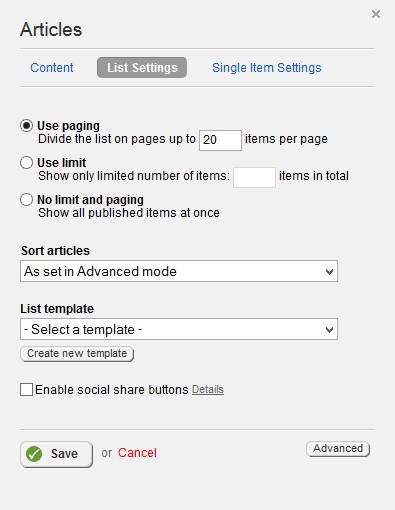Articles List Settings