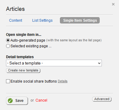 Articles Single Item Settings