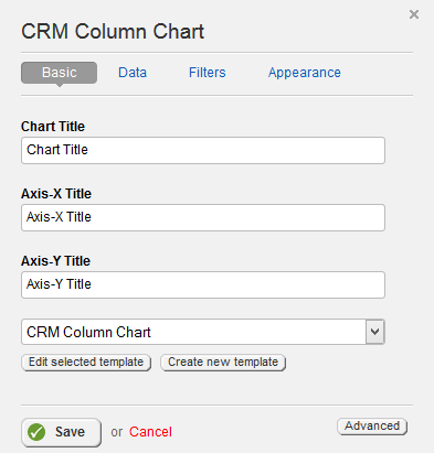 CRM Column Chart Basic Properties
