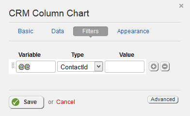 CRM Column Chart Filter Properties