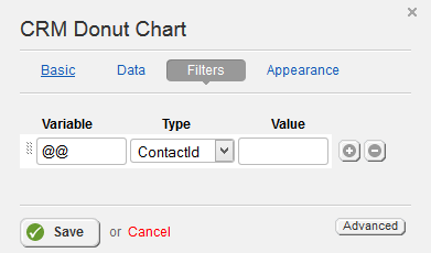 CRM Donut Chart Filter Properties