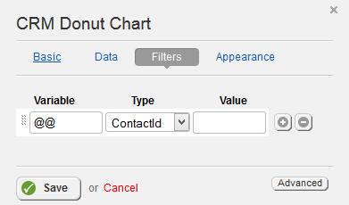 CRM Donut Chart Filter Properties