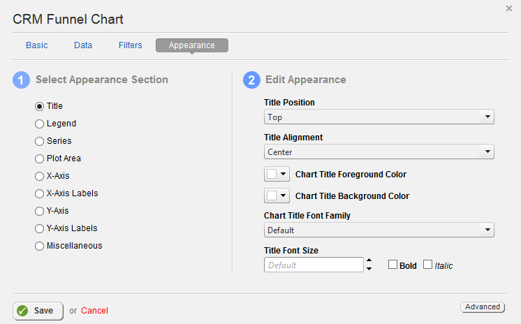 CRM Funnel Chart Appearance Properties