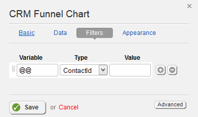 CRM Funnel Chart Filter Properties