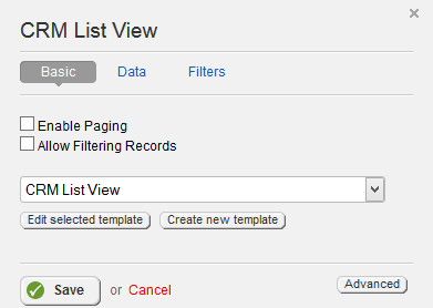 CRM List View Properties
