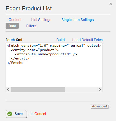 CRM Product List Properties