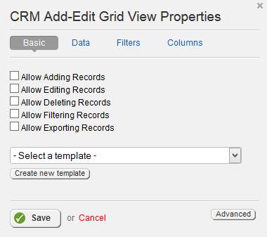 Add Edit Grid Basic Properties