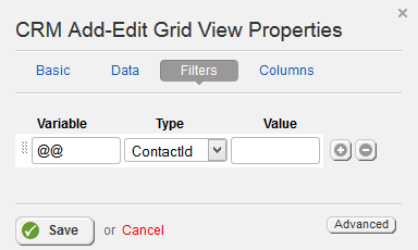 Add Edit Grid Filters Properties