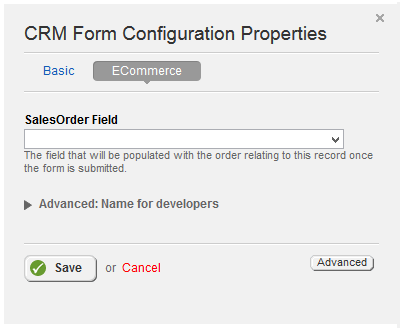 Form Configuration ECommerce Properties