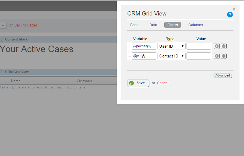 CRM User ID Filtering