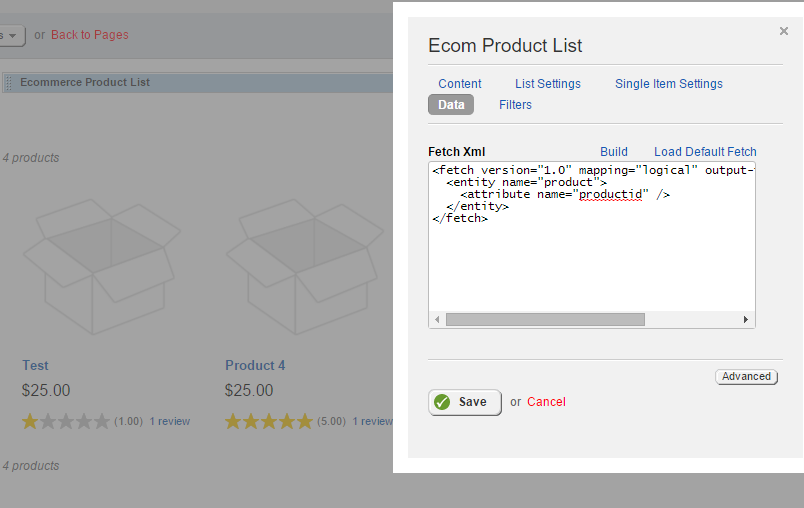 Ecommerce Product List