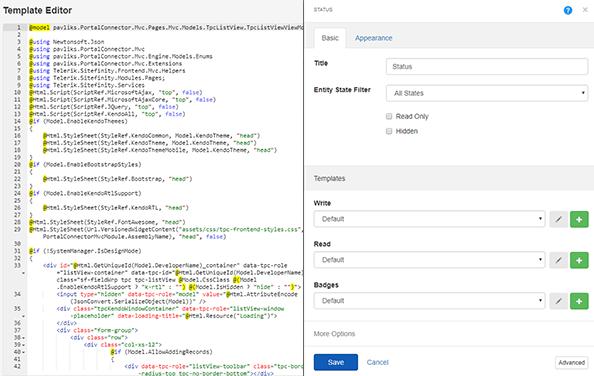 Inline MVC Template Editor