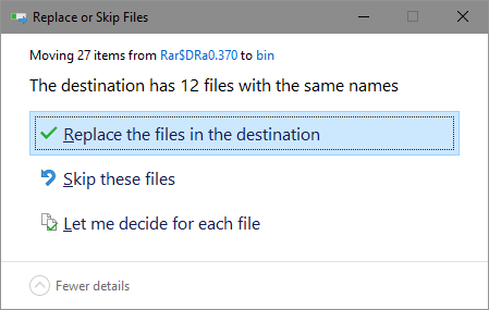 Replace the files in the destination